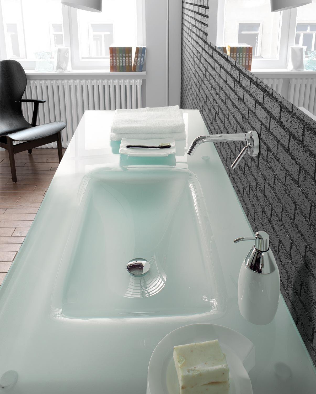 Lavabo suspendido de cristal con toallero tiffany 760 by - Lavabo de cristal ...