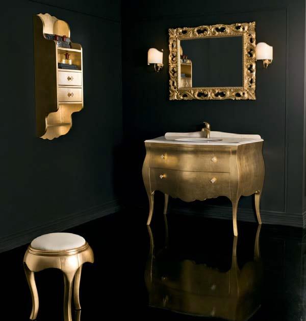 Mueble bajo lavabo de pie en hoja de oro con cajones - Mueble lavabo con pie ...