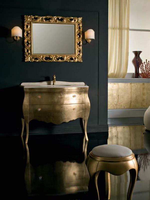 Mueble bajo lavabo de pie en hoja de oro con cajones - Mueble bajo lavabo con pie ...