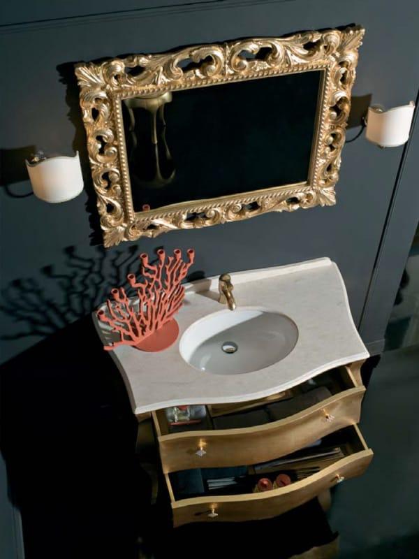 Mueble Bajo Lavabo De Pie En Hoja De Oro Con Cajones