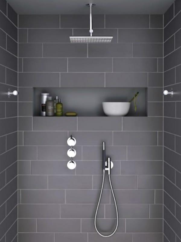 Mitigeur Salle De Bain Mural : Colonne de douche mural thermostatique avec tête de douche COMBI 9 …