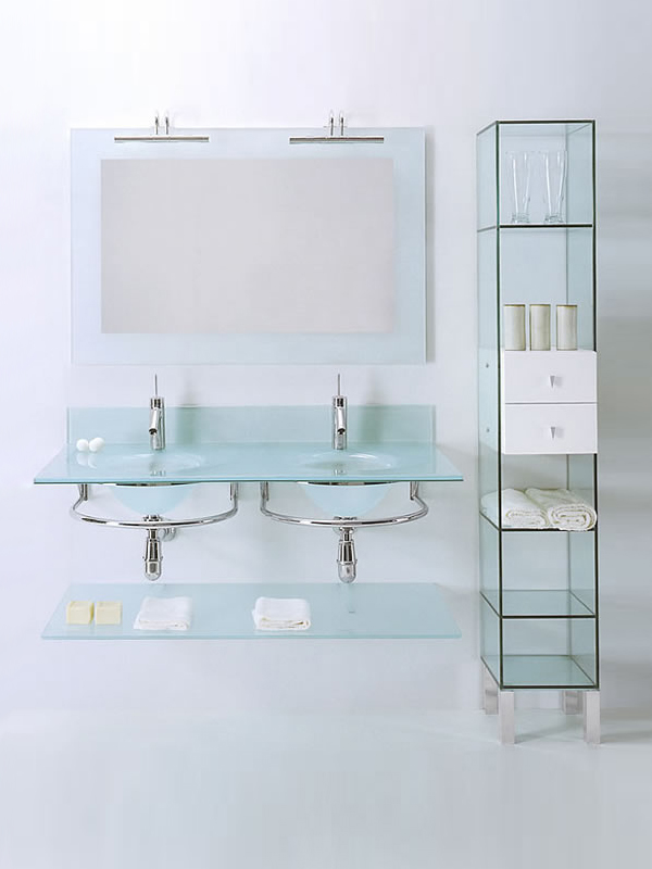 Lavabo doble de cristal con toallero bagni cristalli 200 colecci n bagni cristalli by lasa idea - Lavabo de vidrio ...