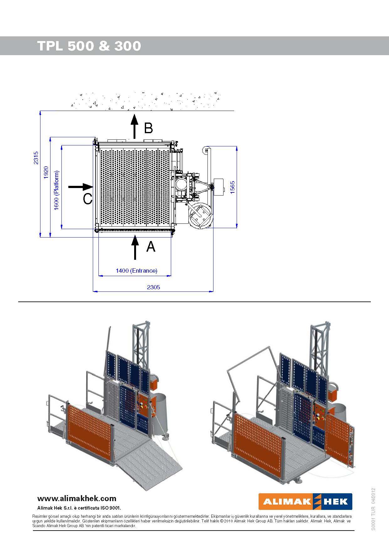 Elevatore da cantiere piattaforma aerea hek tpl 500 for Piani di costruzione della piattaforma gratuiti