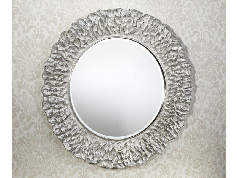 Miroir rond avec cadre flora silver by deknudt mirrors for Cadre miroir rond
