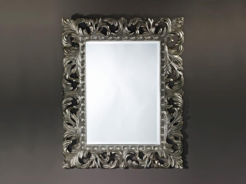 Framed rectangular mirror sculpture silver by deknudt mirrors for Silver framed mirror