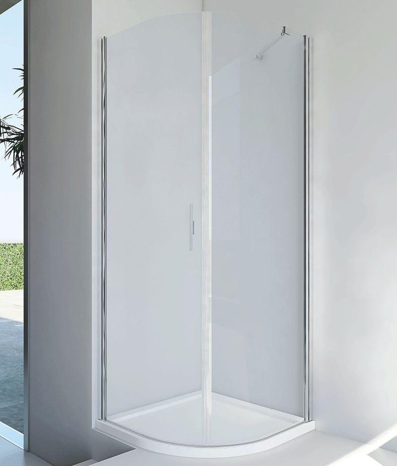 Cabine de douche semi circulaire en aluminium et verre avec porte battante light rf by relax Porte cabine de douche