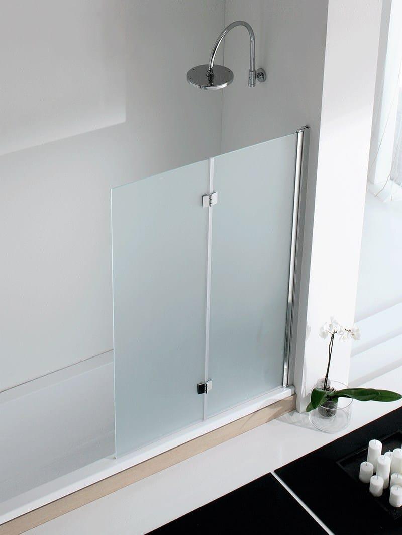Parete per vasca pieghevole in alluminio e vetro light vs for Parete vasca pieghevole