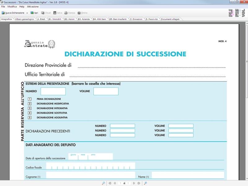 Gestione successione e voltura successioni f23 by for Software di progettazione edilizia domestica