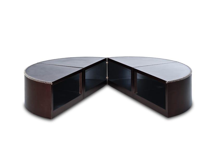 drehbarer couchtisch aus leder stitches by kenneth. Black Bedroom Furniture Sets. Home Design Ideas