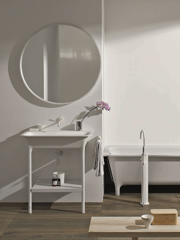 Lavabo a consolle in cristalplant morphing consolle by for Zucchetti kos prezzi