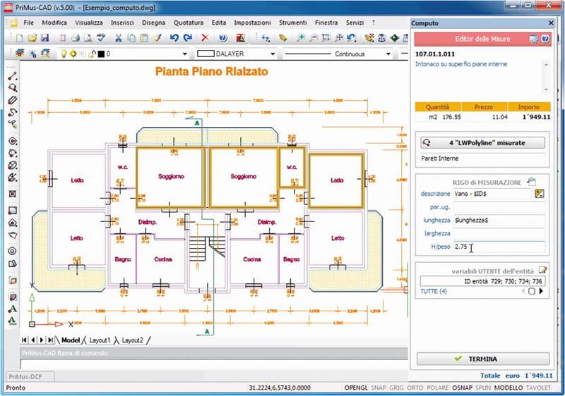 Cad con computo integrato primus cad by acca software - Computo metrico per realizzazione di un bagno ...