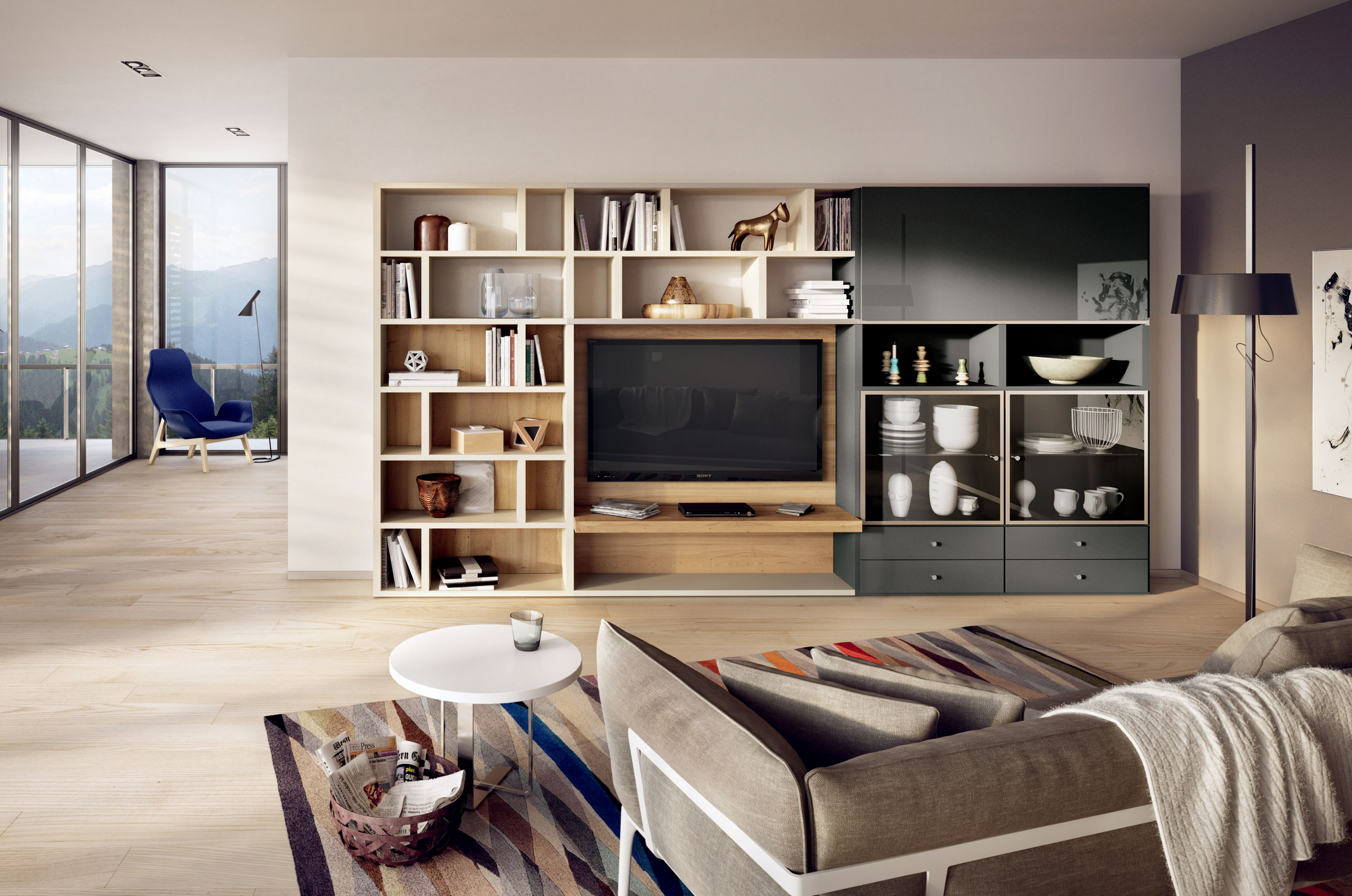 mega design biblioth que avec support tv by h lsta werke. Black Bedroom Furniture Sets. Home Design Ideas