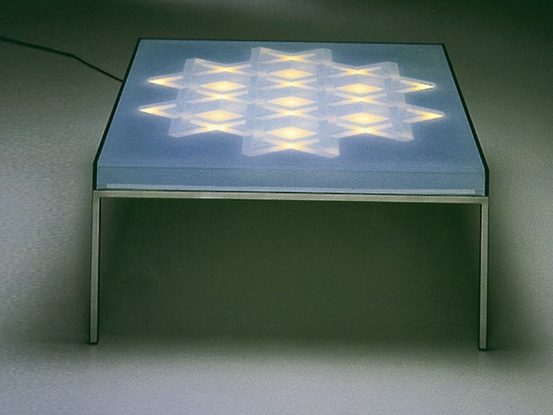 coffee table with light op tisch by draenert design walter giers. Black Bedroom Furniture Sets. Home Design Ideas