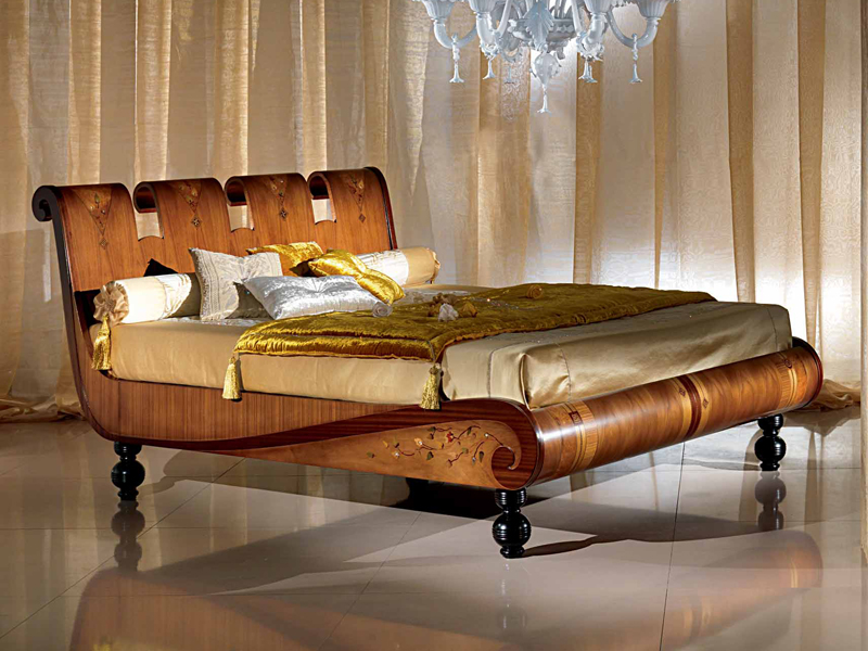 Lit king size queen size en noyer collection regale by for Lit king size but