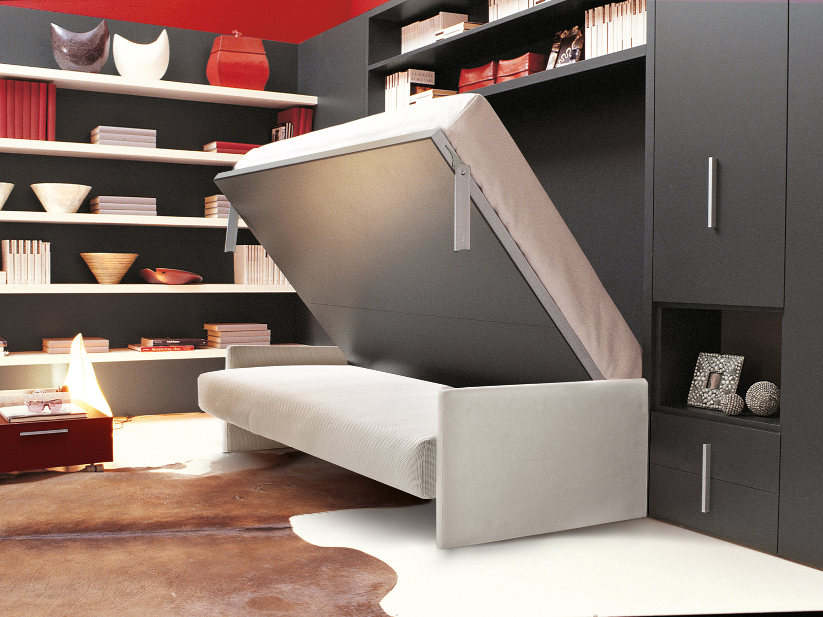 Storage wall with fold away bed CIRCE SOFA By CLEI design Giulio