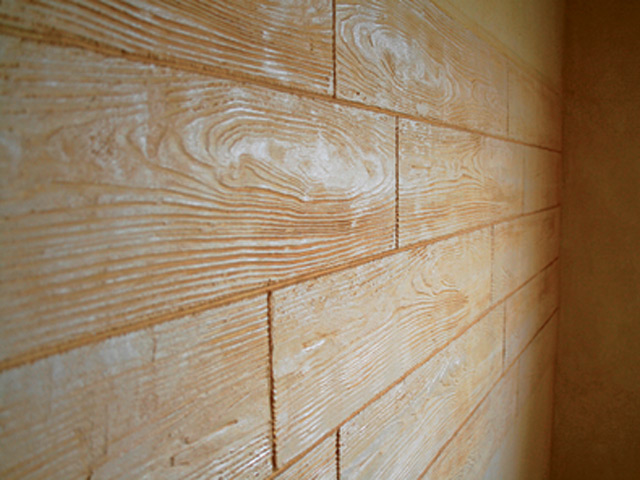 Rivestimento in cemento effetto pietra muro stampato by - Parete interna in legno ...