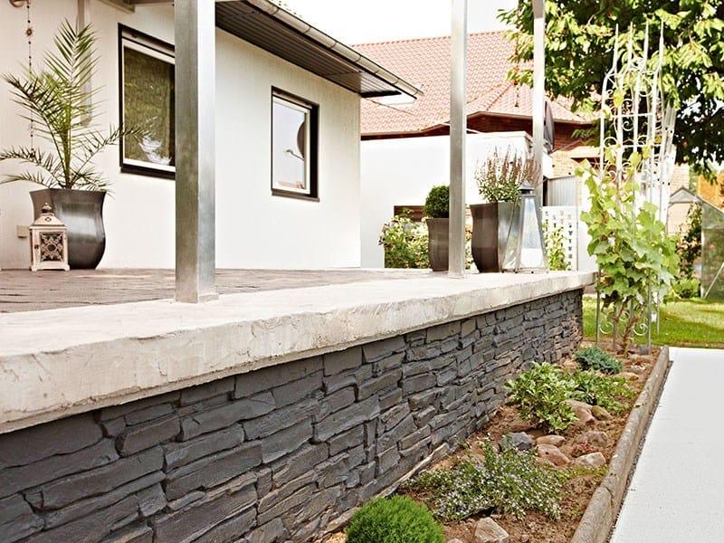 Rivestimento in cemento effetto pietra muro stampato by ideal work - Copertine per muretti esterno in cemento prezzi ...