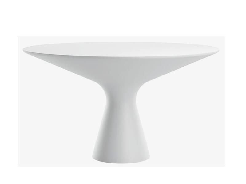 Tavolo Rotondo Da Salotto In Cristalplant Blanco By