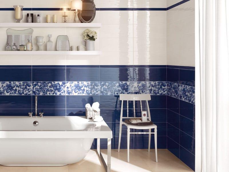Rivestimento in ceramica a pasta bianca contemporanea collezione new country by abk industrie - Bagno blu e bianco ...