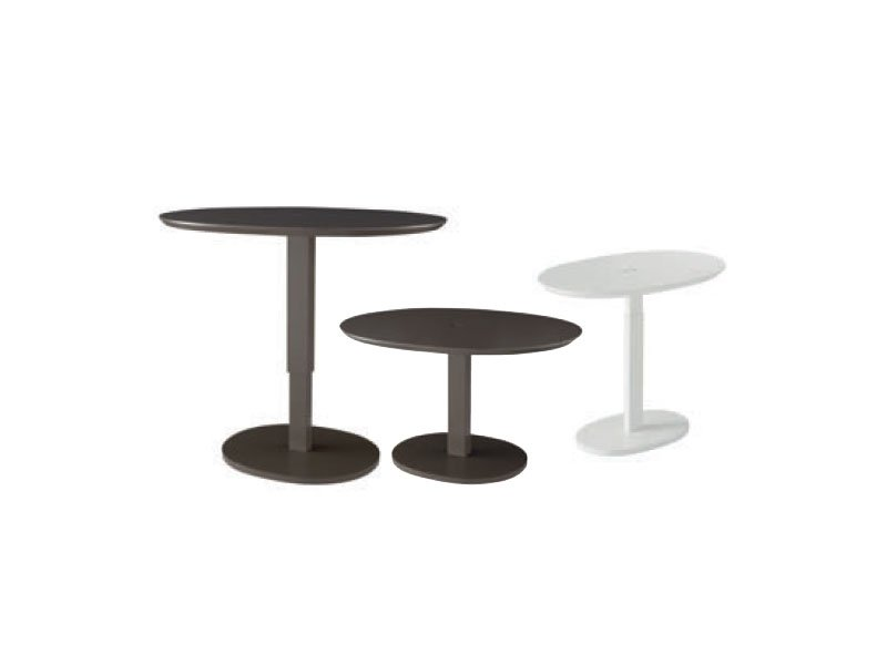 Table basse r glable en hauteur laqu e ovale lunatique by for Table basse reglable hauteur