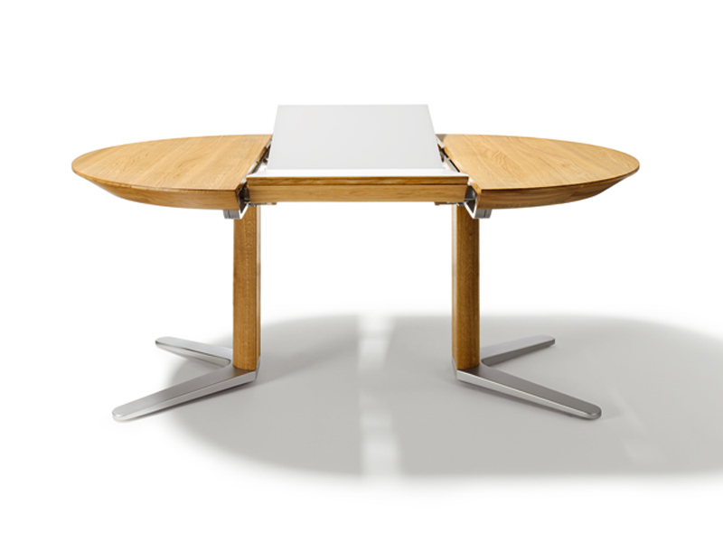 Table ronde avec rallonge integree for Table ronde rallonge design