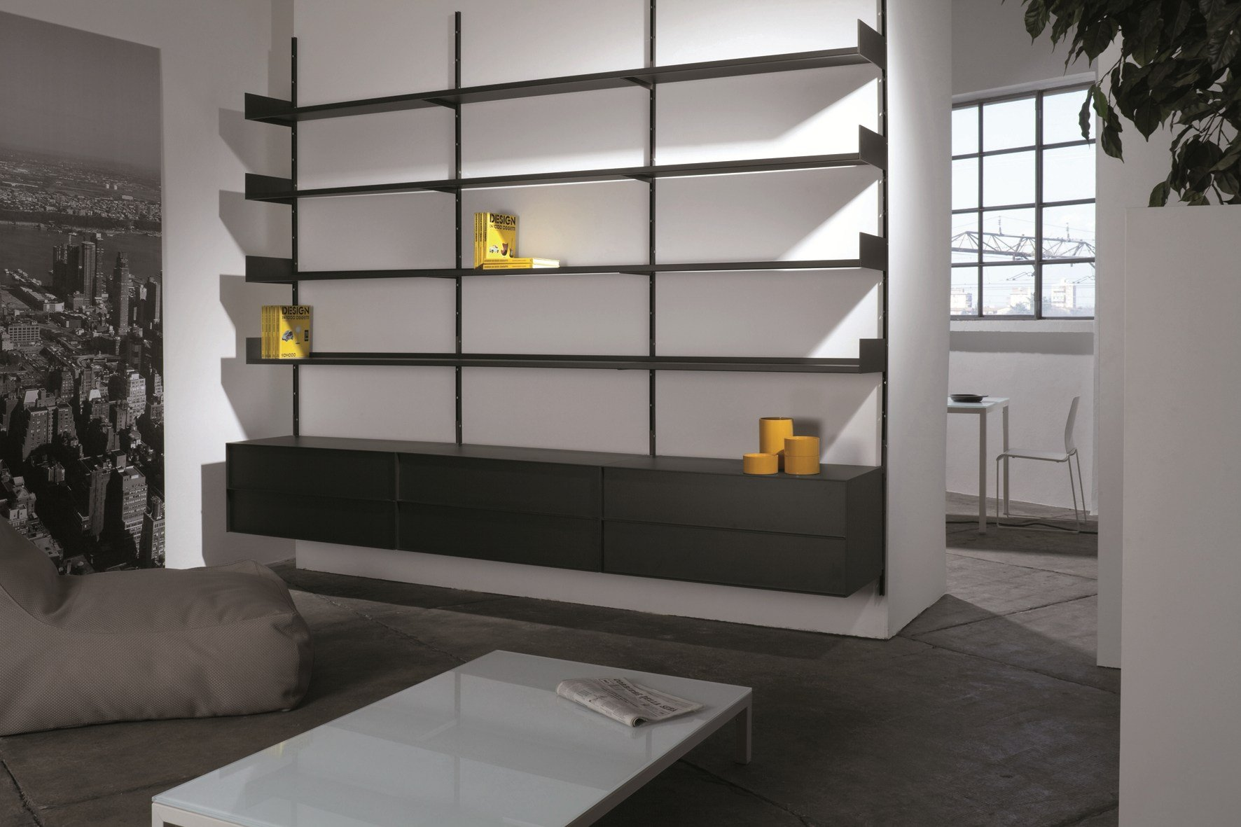 biblioth que m tal laqu elle system by ydf design basaglia rota nodari. Black Bedroom Furniture Sets. Home Design Ideas