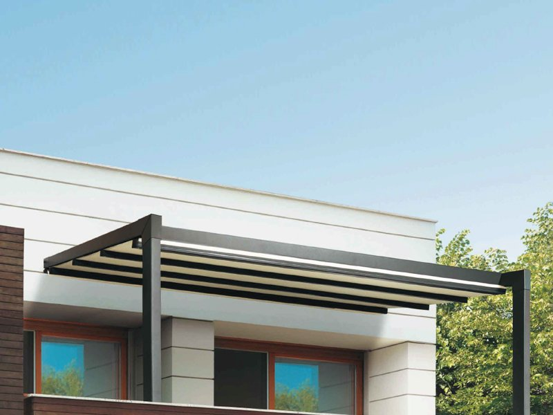 Wall mounted aluminium pergola r127 pergostyle by bt group for Pergola aluminium x