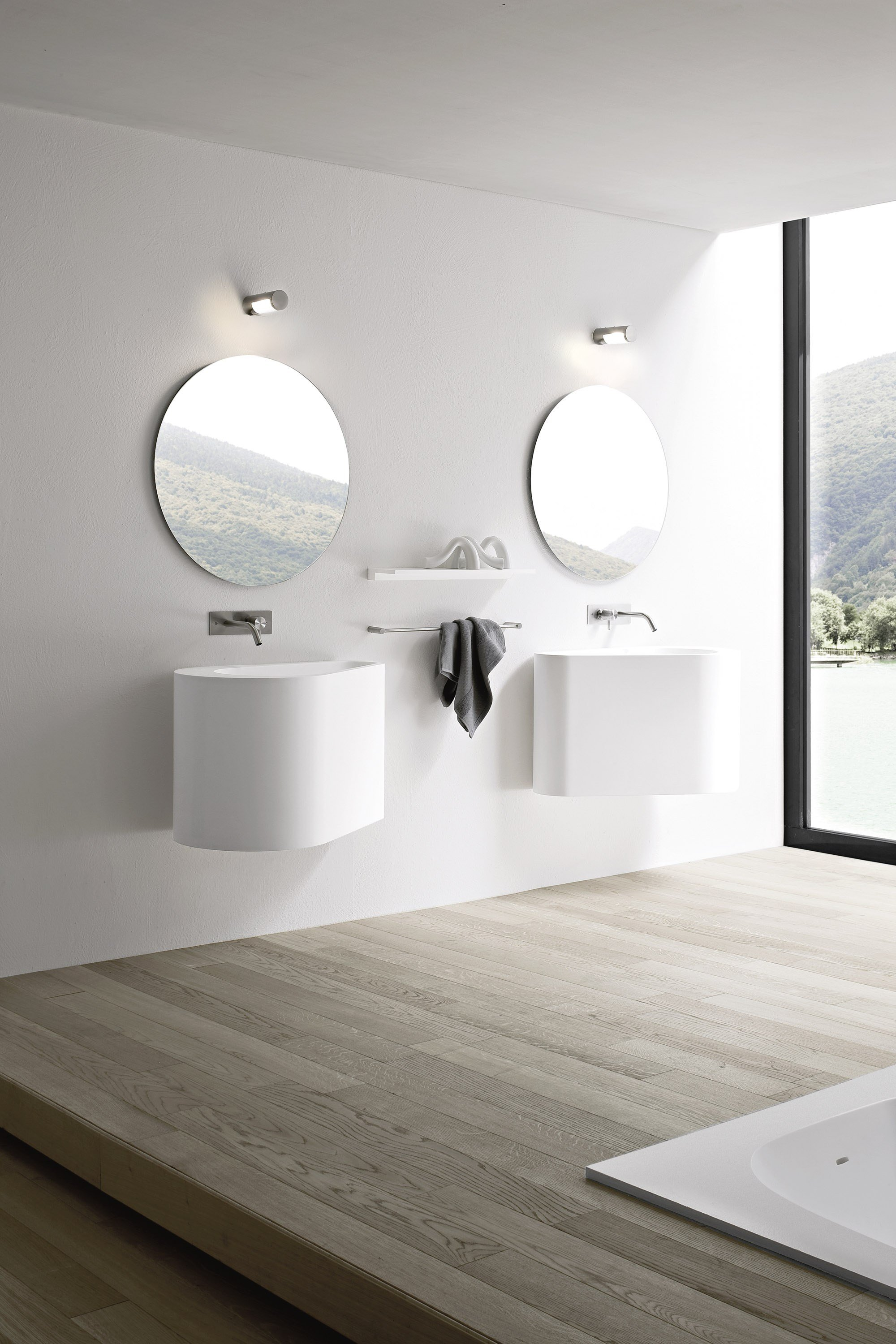 Boma wall mounted washbasin by rexa design design imago design for Miroir rond ikea
