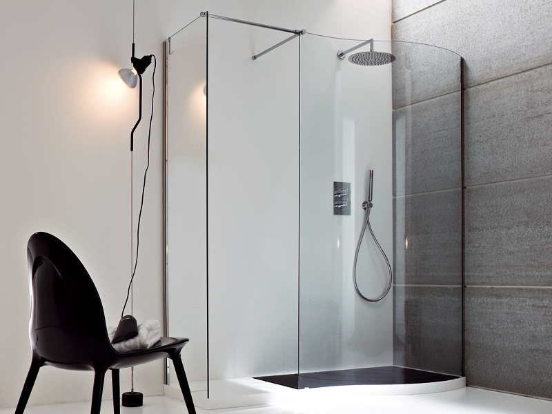 Cabine de douche d 39 angle avec bac collection boma by rexa design design - Cabine douche design ...