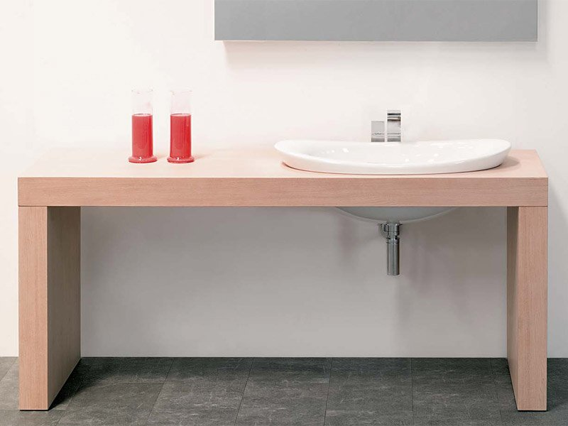 Piano lavabo doppio in legno linea bridge 62 by ceramica for Flaminia lavabi