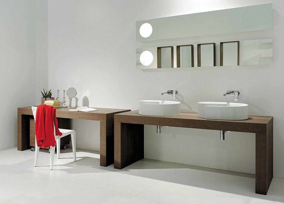 Plan de toilette double en bois ligne bridge 62 by - Meuble salle de bain design italien ...
