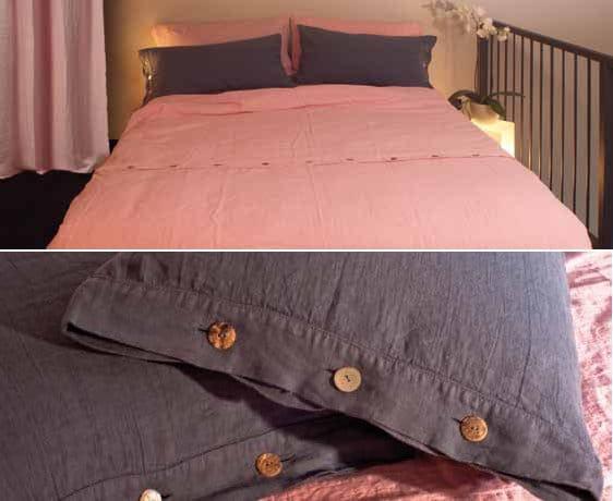 Coordinato letto a tinta unita in lino bottoni asole collezione basic by la fabbrica del lino by - La fabbrica del lino letto ...