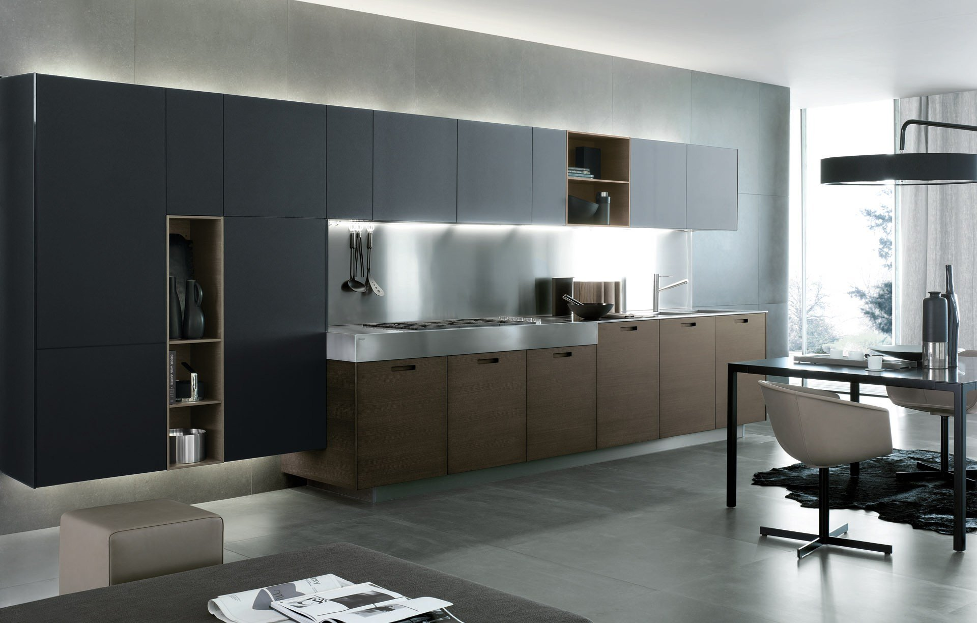 Cucina laccata lineare in legno kyton by varenna by poliform - Cucina varenna poliform ...