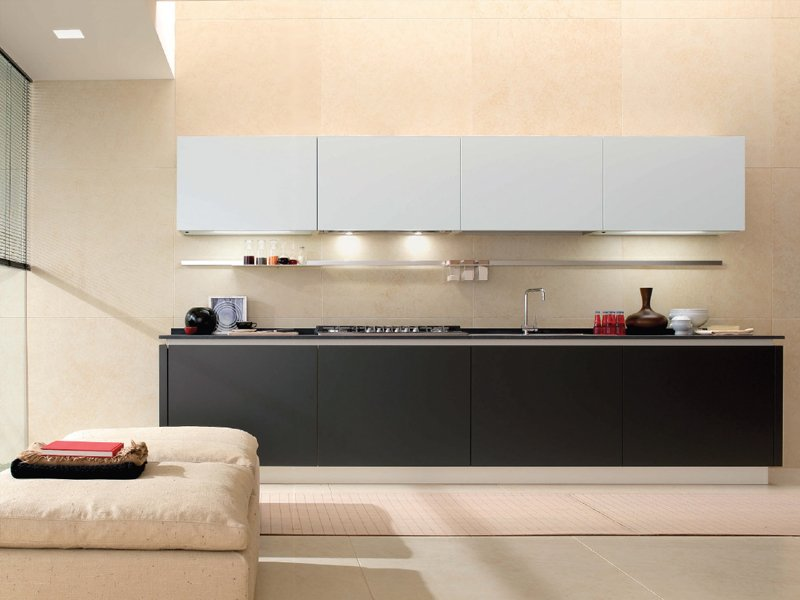 Cucina componibile senza maniglie filotabula by euromobil - Cucina senza maniglie ...
