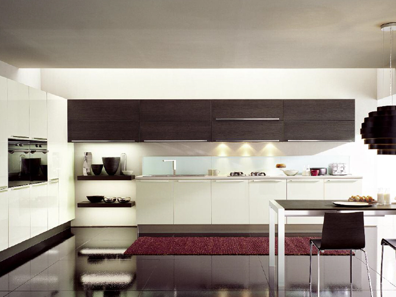 Cocina integral de estilo moderno con isla vanity top by - Cocinas con estilo moderno ...