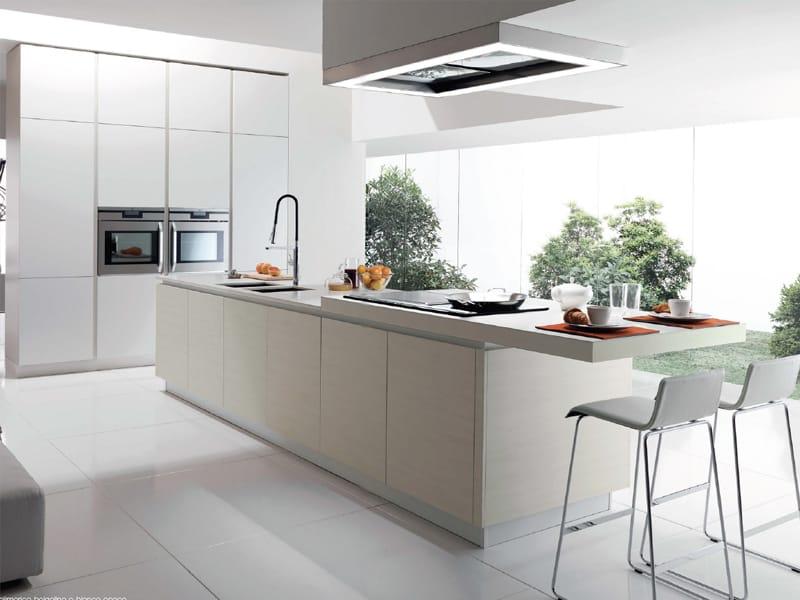 Zeilen- Küche mit Kücheninsel ohne Griffe FILOVANITY TOP by Euromobil