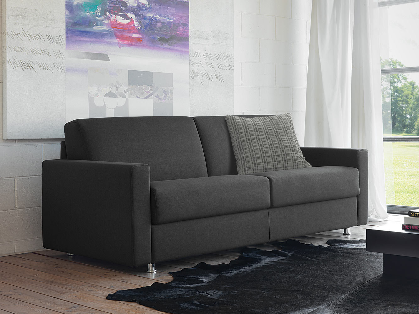 fabric sofa bed with removable cover lampo by milano. Black Bedroom Furniture Sets. Home Design Ideas