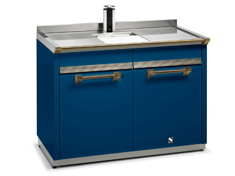 ... steel kitchen unit ASCOT Kitchen unit with double sink - Steel
