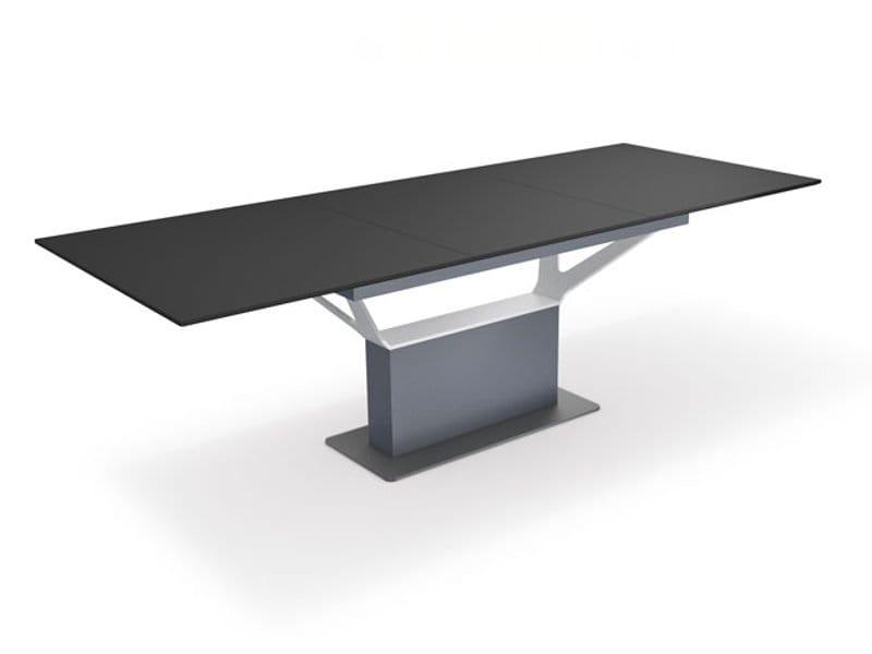 Ausziehbarer rechteckiger esstisch william by ronald for Ausziehbarer esstisch design