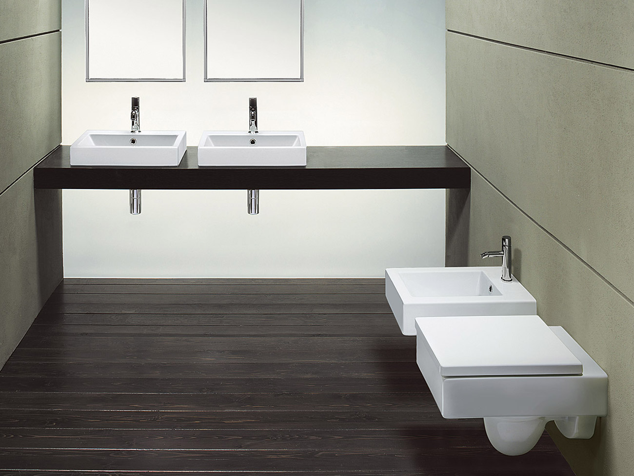 Zero 50 lavabo rectangular by ceramica catalano dise o cdc - Lavabos dobles sobre encimera ...