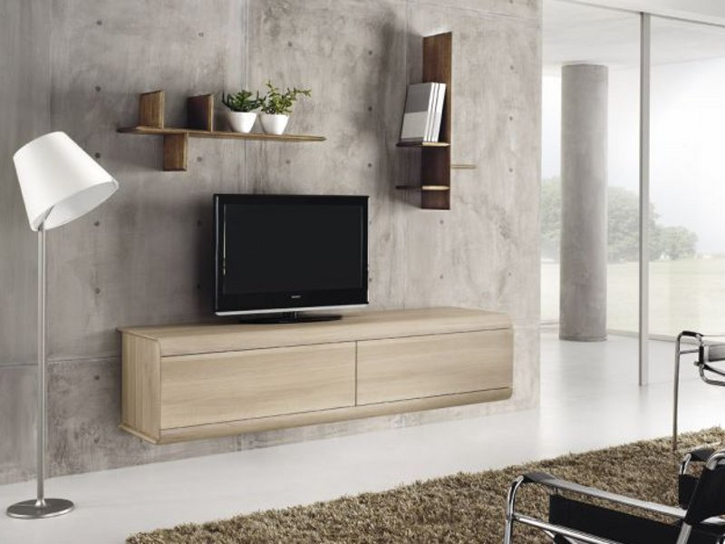 Wall mounted oak tv cabinet curve by domus arte design for Meuble mural vitrine