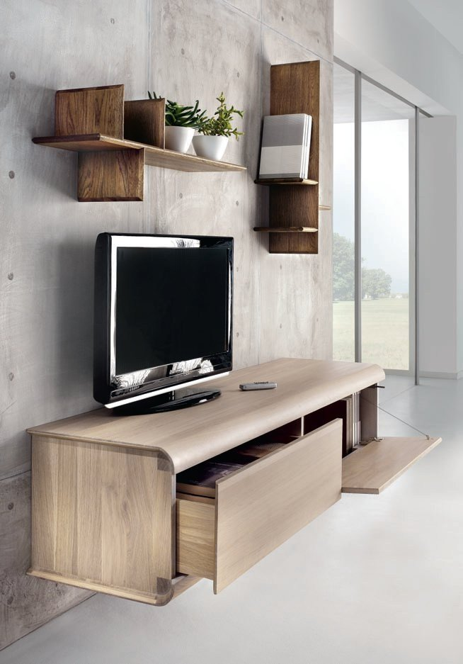 Design Wall Mounted Tv Cabinet : Wall mounted oak tv cabinet curve by domus arte design