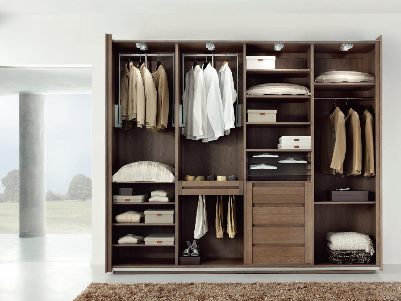 Oak wardrobe with sliding doors essenza by domus arte for Grande armoire porte coulissante