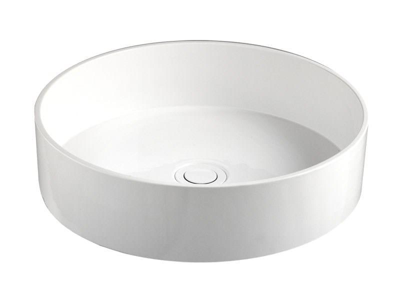 Lavabo sobre encimera redondo de cer mica de dise o round for Lavabo redondo sobre encimera