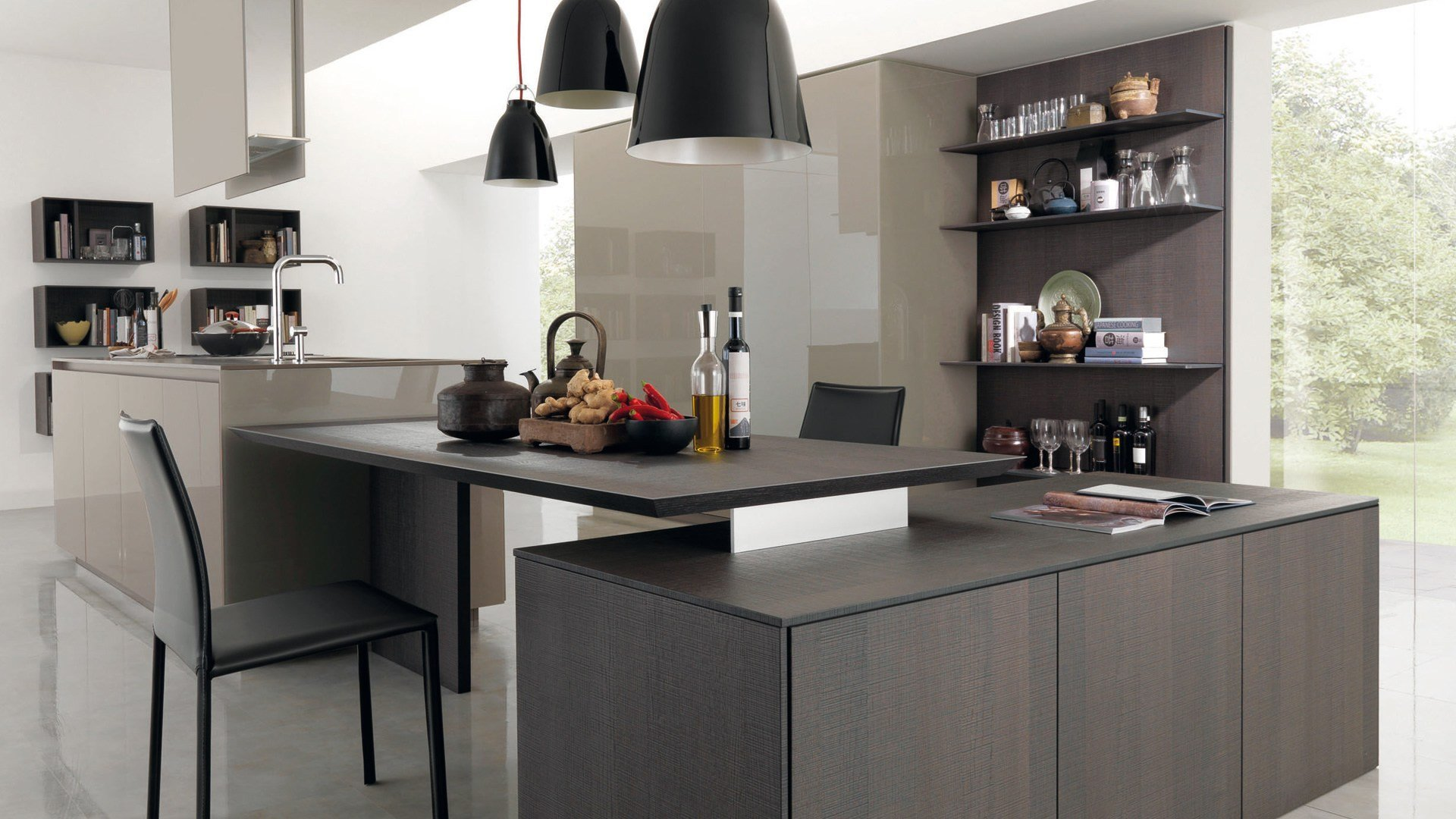Wooden fitted kitchen kubic 4 by euromobil design roberto for Wooden fitted kitchen