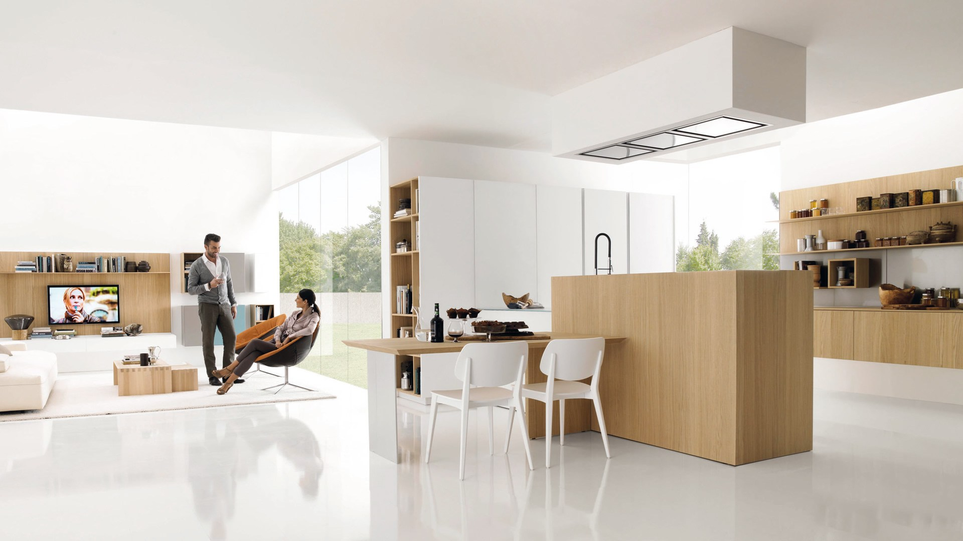 Wooden Fitted Kitchen KUBIC 3 By Euromobil Design Roberto Gobbo #9B6330 1920 1080 Cucine Moderne E Living