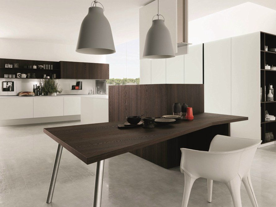 Wooden fitted kitchen kubic 1 by euromobil design roberto for Wooden fitted kitchen