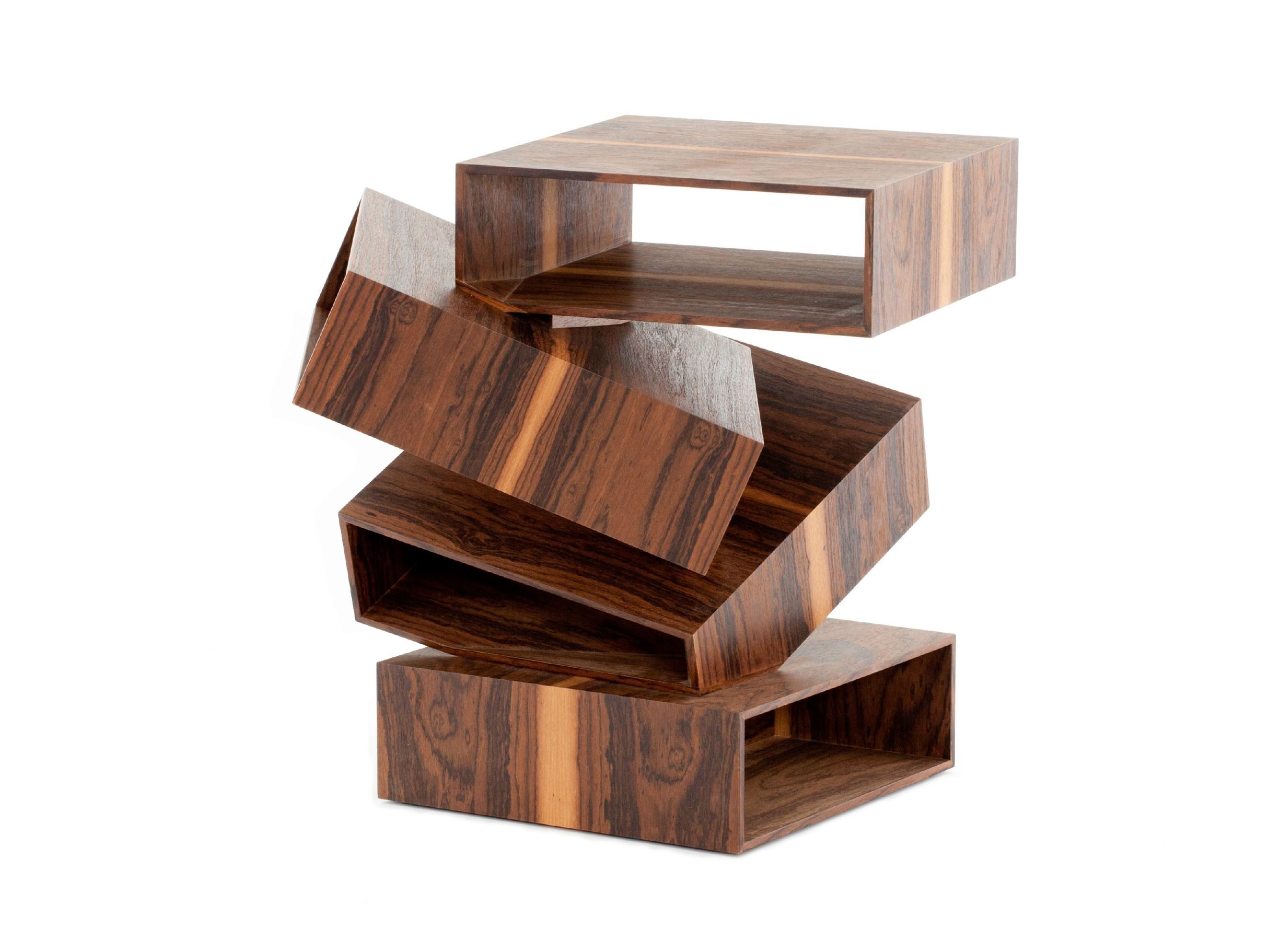 Solid Wood Coffee Table Balancing Boxes By Porro Design Front