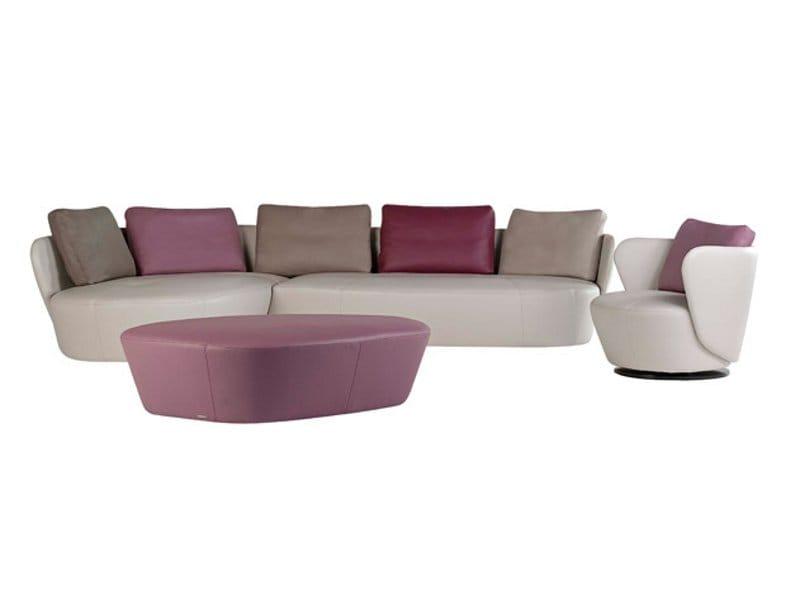 fauteuil pivotant en cuir ovalis collection les contemporains by roche bobois. Black Bedroom Furniture Sets. Home Design Ideas