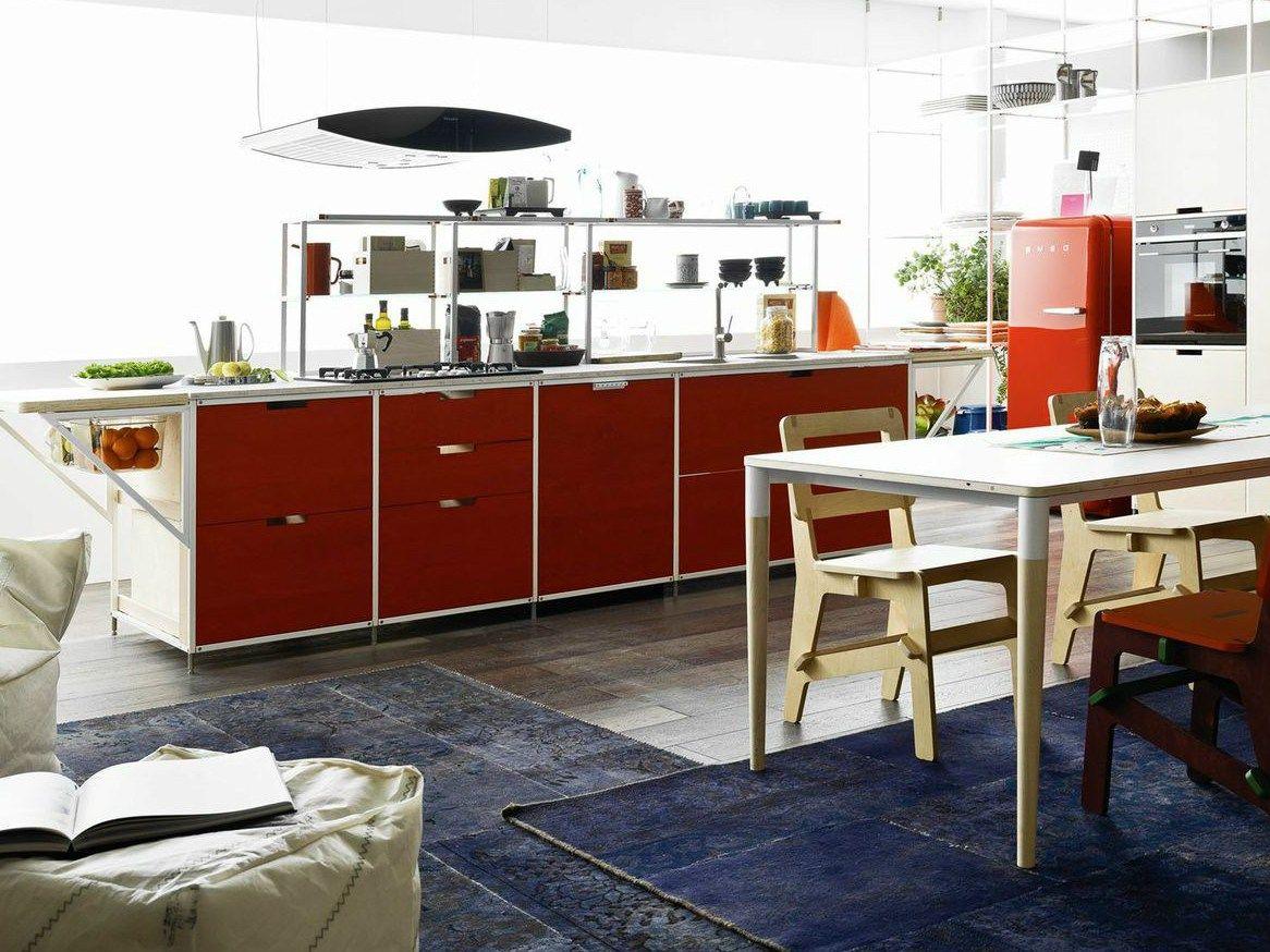 Cuisine int gr e en bois multi niveau meccanica by for Cuisine integree bois